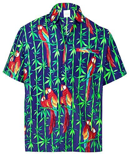 La Leela Likre Druckknopf Hochzeit Am Strand Hässlich Luau Palme Carribean Lässig Punkt Offener Kragen der Männer Hawaiihemd l r_Blue Up (Kleidung Hawaiian Luau)