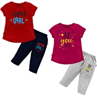 NammaBaby Girl's T-Shirt Girl's Regular Fit Capri Pant Set for Girls/Night Suit for Girls/Nightwear/Sleepwear/Loungewear…