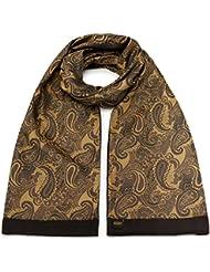Mailando Damen Schal aus reiner Baumwolle und Seide, braun - gold, Paisley Muster