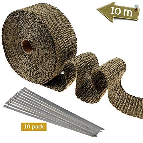 TedGem Auspuff Hitzeschutzband,10m Hitzeschutzband Basaltfaser Auspuffband mit 10pcs Kabelbinder für Fächerkrümmer Krümmerband