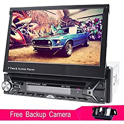 Copia de seguridad cámara + foiioe Single DIN 7pulgadas pantalla táctil estéreo Wince coche de navegación GPS HD Autoradio Bluetooth FM AM RDS Video Receptor usb aux volante control DVD CD 1 Din