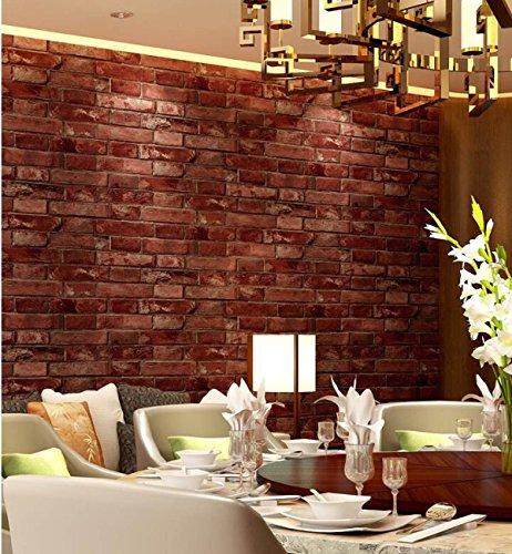 HUQI Red Brick Wallpaper Garment Shop Restaurant Chinesisch Stil Ziegelstein Stein Tapete Tee Tee Shop Retro 0.53M * 10M,Red -