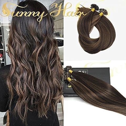Sunny 14Pouces Extensions de Cheveux Humains Hot Fushion Brun U Tip Remy Bresilien Extension Keratine 1g 50Strands