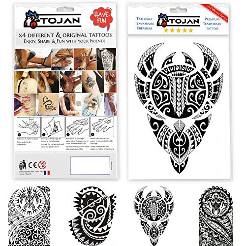 Set di 4 differenti tatuaggi temporanei maori neri / tahiti / tribali / applicabili su pelle su diversi parti del corpo / tatuaggio nero rimovibile impermeabile body art / schiena / spalla