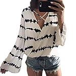 VESNIBA Women's Loose Long Sleeve Printed Tops Chiffon Casual Blouse