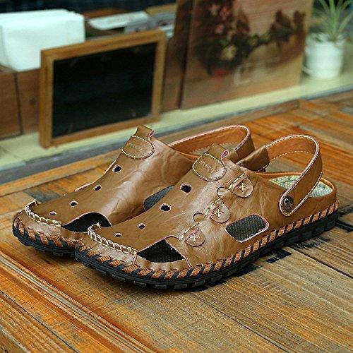 Xing Lin Sandales DÉté Chaussures De Plage Baotou_Sandales En Cuir Respirant Cuir Baotou Sandales Antidérapantes La Grande Taille Hommes Faits À La Main Khaki