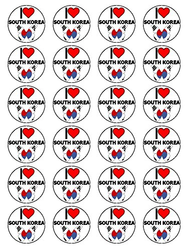 X24 1.5 Inch I Love South Korea Cup Cake Toppers Decorations On Edible Rice Paper