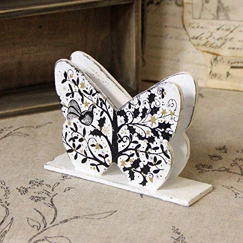 Vintage Serviettenhalter Schmetterling 16x4,5x11cm Halter Handarbeit Servietten Baum mit Vogel weiß - Vögel Serviettenhalter