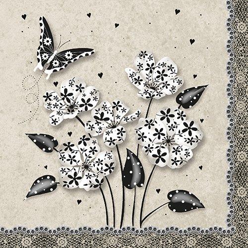 20 Servietten Romantik Naturszenario/Schmetterling/Blumen/Frühling/Sommer 33x33cm