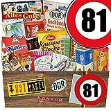 DDR Produkte XXL | Zahl 81 | Geschenkidee Papa | Suessigkeiten Korb