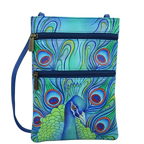 Anuschka Hand bemalte Designer Leder Handtaschen für Frauen-Mini Travel Umhängetasche (Jeweled Plume 448 JPL) (Umhängetasche Anuschka)
