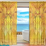 Bennigiry Egyptian Queen modelli 2 pannelli sheer voile Window Curtain treatment Drapes 139,7 x 198,1 cm, 100% poliestere, Multicolor, 55x84x2(in)