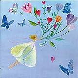Quadratische Postkarte Mila Marquis * Fliegen mit Blumen