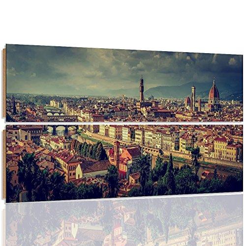 Florenz-panel (Feeby. Wandbilder - 2 Teile - 150x100 cm - rechteckige Form Bilder Kunstdrucke Deko Panel FLORENZ, ITALIEN, ARCHITEKTUR, BRAUN)