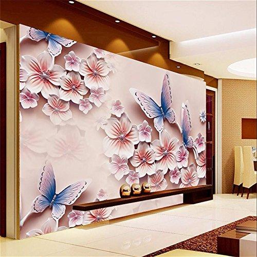 Lqwx Foto Tapeten Home Decor Relief Wandbild TV-Kulisse Schmetterling Orchidee Blumen grosse Wandbild Tapeten für Wände 3D-120cmX100cm Fernseher Großen Bildschirm