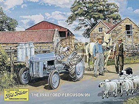 Classique Ford Ferguson 9N Tracteur Old Vintage Dairy Farm 1941. sur la ferme avec Tracteur Mouton et chien. Pots à lait et mouton gris Panneau mural en métal/acier., Acier, 30 x 40 cm