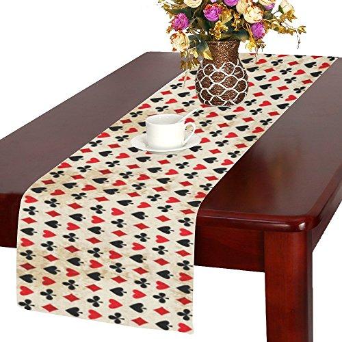 Poker Esszimmer Tisch (interestprint Poker passt Polyester Tischläufer Tisch-Sets 35,6x 182,9cm, Vintage Schwarz und Rot Tischdecke für Büro Küche Esszimmer Hochzeit Party Home Decor, Polyester-Mischgewebe, multi, 14x72)