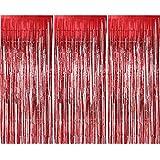 3 Packung Metallic Tinsel Vorhänge, Folie Fringe Shimmer Vorhang Tür Fenster Dekoration für Geburtstag Hochzeit (Rot)