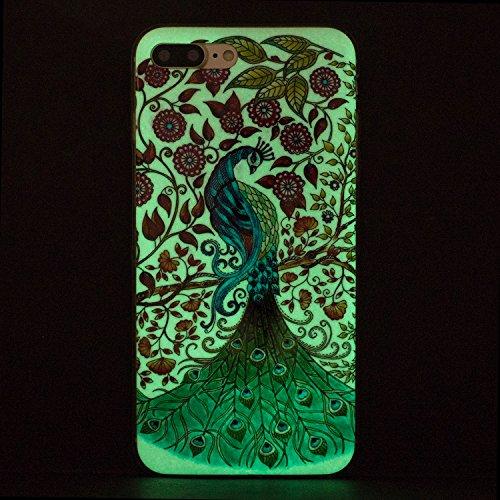 Cover iphone 8 plus Custodia iphone 7 plus Silicone Anfire Morbido Flessibile Gel TPU Case per apple iphone 8 plus/7 plus (4.7 pollici) Ultra Sottile Fluorescente Shell Antiurto Luminosa al Buio Coper Pavone