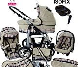 Chilly Kids Dino Kinderwagen Safety-Sommer-Set (Sonnenschirm, Autositz & ISOFIX Basis, Regenschutz, Moskitonetz, Getränkehalter, Schwenkräder) 38 Beige & Karo