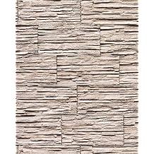 Papel pintado súperlavable con relieve aspecto piedra EDEM 1003-36 natural tipo mampuesto blanco crema gris