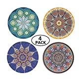QICI 4 Pcs Bohemia Style Ceramic Stone Coasters Cork Backing Coasters for Chilled / Hot Drinks and Home Decorations (4)