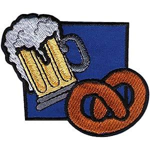 Écusson à coudre broderie motif emblème écussons patchs &-chope à bière avec pendentif taille :  env. 7 x 7 cm (00418)