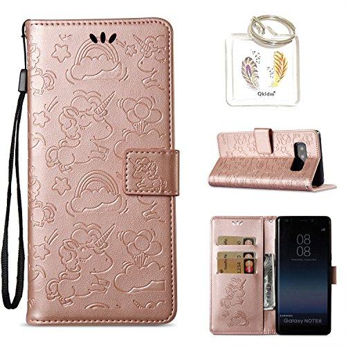 für Samsung Galaxy Note 8 Hülle Geprägte Muster Handy PU Leder Silikon Schutzhülle Handy case Book Style Portemonnaie Design für Samsung Galaxy Note 8 + Schlüsselanhänger(/*133 (7)