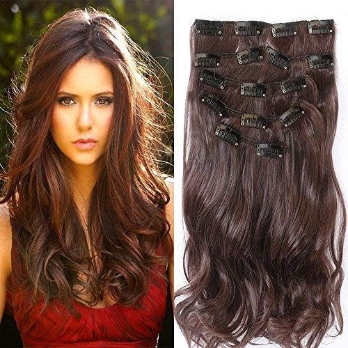 Clip in Haarverlängerungen, Neverland 22-Zoll-Haarteile 7Pcs 16 Clips Dickes lockiges gerades Voller Kopf in doppelten Haarverlängerungen - Mahagoni Brust