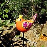 Keramik Gartenstecker,Zaunkönigin orange, handgefertigt und handbemalt, Gartendeko, Gartenkunst