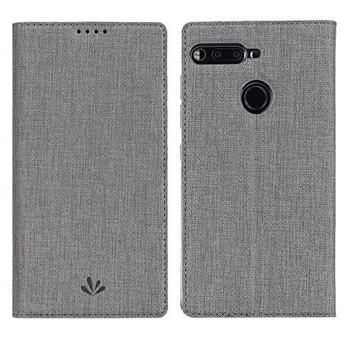 Essential Phone PH-1 Hülle, Feitenn dünne Premium PU Leder Flip Handy Schutzhülle | TPU-Stoßstange, Magnetverschluss, Kartenschlitz und Standfunktion Brieftasche Etui (Grau)