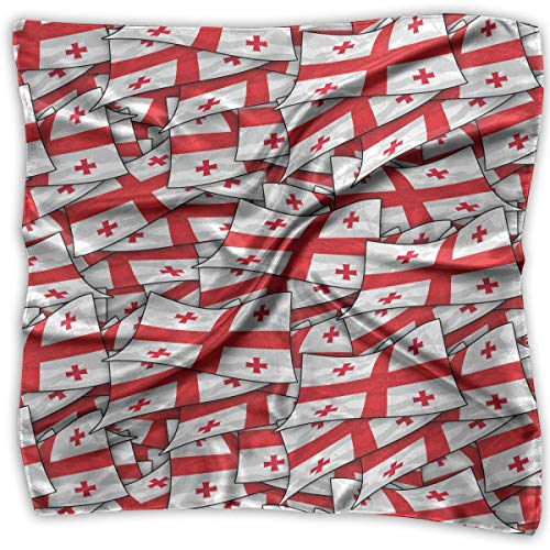 Xukmefat Square Satin Headscarf Georgia Flag Wave Collage Silk Like Lightweight Hair Wrapping Neck Square Scarfs Large