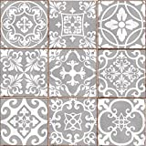 LPS Pack of 9 Mixed grey Victorian Moroccan retro traditional aged style Mosaic style tile transfers stickers bathroom kitchen stick on wall tile peel and stick size 6X6 Trendy retro