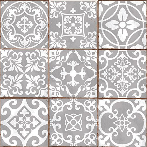Pack of 9 Mixed grey Victorian Moroccan retro traditional aged style Mosaic style tile transfers stickers bathroom kitchen stick on wall tile peel and stick size 6X6 Trendy retro