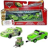 Disney Cars Cast 1:55 - Gift Pack Race o Rama - Shiny Wax No. 82, Chief & Pitty - 3 vehículos