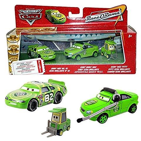 Disney Cars Cast 1:55 - Gift Pack Race o Rama - Shiny Wax No. 82, Chief & Pitty - 3 véhicules