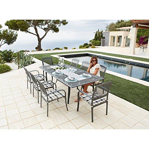 baumarkt direkt 17-tlg. Gartenmöbelset Montreal, 8 Sessel + Auflagen, Tisch180-240 cm, Alu/Textil schwarz