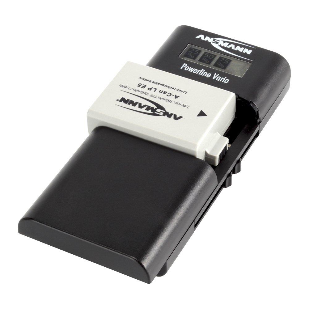 ANSMANN Powerline Vario - Caricatore Universale per Batterie Fotocamere Canon |  Nikon | Mignon AA |