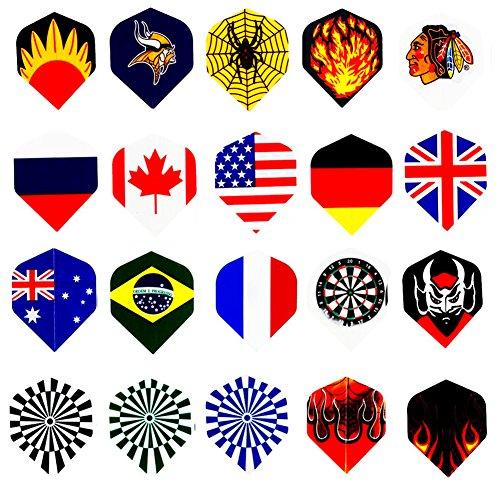 60 Dartflight profi Dart Flüge 20 Sets (60 Stück) Nylon Dart Flights, DARTPFEILE Flüge Großhandel National Flagge Coole (Großhandel Flügel)