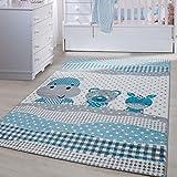 Kinder Teppiche für Kinderzimmer, Babyzimmer, Spielteppich Tiermotive lustige Nilpferd Panda und Esel , Multi Farben Blau Grau Weiss_0530, Maße:120x170 cm