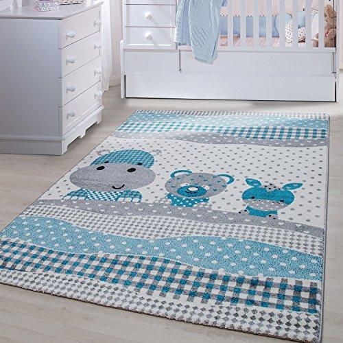 Kinder Teppiche für Kinderzimmer, Babyzimmer, Spielteppich Tiermotive lustige Nilpferd Panda und Esel , Multi Farben Blau Grau Weiss_0530, Maße:160x230 cm
