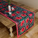 #9: Sej By Nisha Gupta Floral Table Runner - Grey (12 By 47 Inches )
