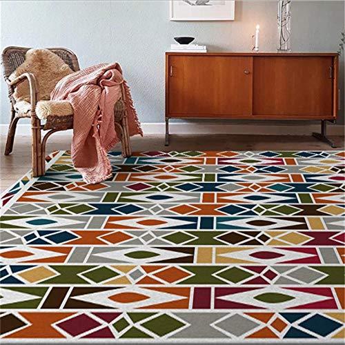 MAUSX Teppich Wohnzimmer Teppiche Mit Rautenmuster Ethnischen Stil Teppich Schlafzimmer Teppich Mechanische Wäsche 100% Polyester 80X120Cm - Haustier-matte Mikrofaser