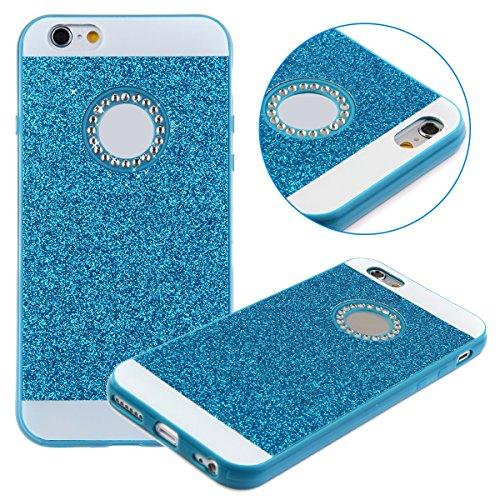Etche Cas pour iPhone 6,Caoutchouc Couverture pour iPhone 6 4.7 pouces,Luxe cas pour iPhone 6,Hybride TPU molles caoutchouc Glamour Glitter Bling étincelle Case pour Apple iPhone 6 4.7 pouce - doré Bleu