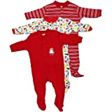 Mini Berry Baby Boy Cotton Full Body Rompers in Red Color -Set of 3Pcs