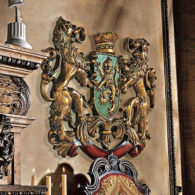 Design Toscano Heraldisches Löwenwappen, Wandfigur