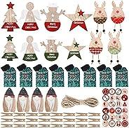 Jetec 24 Pieces Christmas Advent Calendar Numbers Ornaments Wooden Advent Calendar Ornaments Christmas Countdo