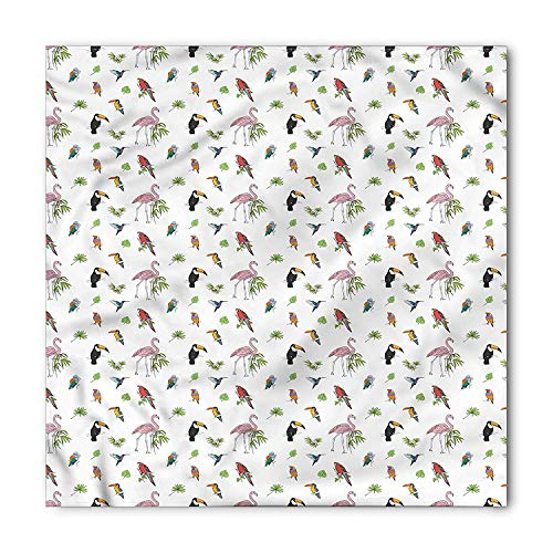LULABE Bird Bandana, Flamingo Cockatoo Parrot Birds, Unisex Head and Neck Tie,Unisex Bandana Head and Neck Tie Neckerchief Headdress Silk-Like 100% Polyester(size:M) (Bandana Bird)