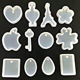 12 holes key pcs / set silicone mold waterdrop resin jewelry making diy craft