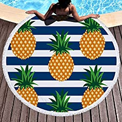 Stillshine Toalla de Playa Redondo Microfibra Tapiz de Pared Indian Mandala Beach manta Hippy Boho Gypsy mantel toalla de playa, Manta Multi-funcional para Yoga/Gimnasio/Baño/Picnic/Decoración/Viaje 150cm (Style 2- Piña)